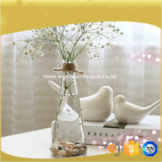 Wide Mouth Blue Glass Vase for Home Decoration with Flower pictures & photos