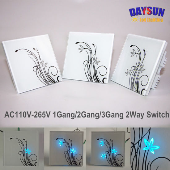 New Smart Home Switch Touch Panel Wall Light Fan Switch AC85-265V Black/White Panel 1gang/2gang/3gang 2way Switches