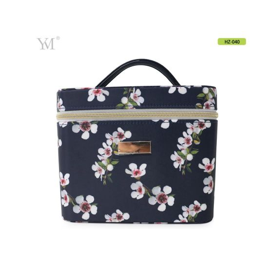 Portable and Simple Flower Print Nylon Material Hard Cosmetic Tool Case for Travel