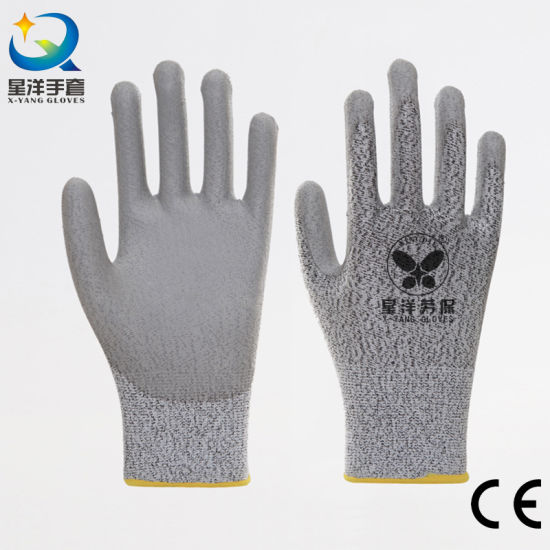 Level 5 Anti Cut Hppe Cut Resistance Hand PU Coated Safety Work Gloves with Ce