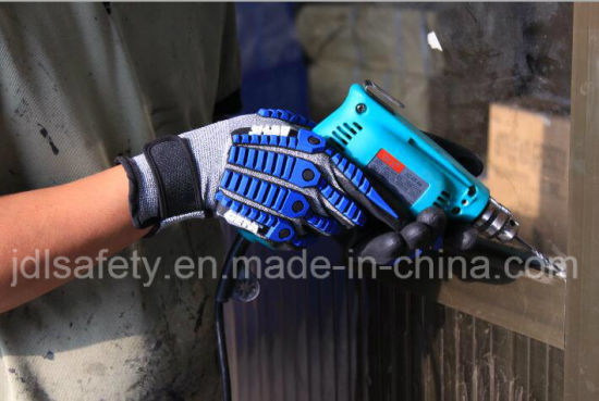 18 Gauge Hppe Shell Specialty Hand Protection Anti Vibration Anti-Impact Glove with Sandy Nitrile Dipping