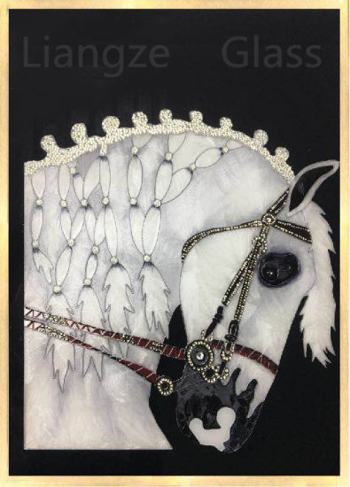 Handmade Cloisonne Horse on Tempered Glass for Wall Decoration