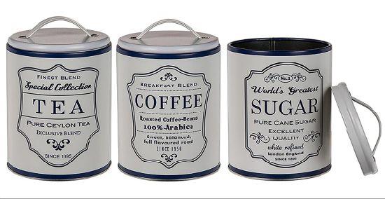 Round Storage Metal Retro Coffee Tea Sugar Tins Canister Set of 3