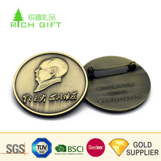 Factory Supply No Minimum Custom Metal Enamel Antique Brass Plated Sword  Lapel Pin for Souvenir