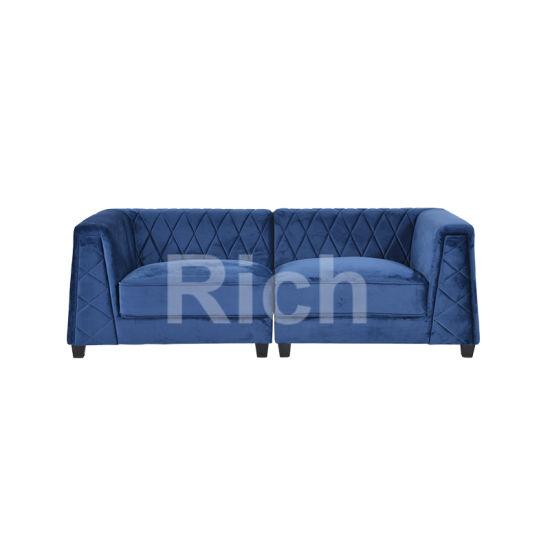 Modern Furniture Sectional Sofa Blue Velvet Corner Sofa