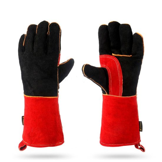 Heat/Fire Resistant Cow Split Leather Welding Work Safety Gloves for Oven Baking/BBQ/Grill