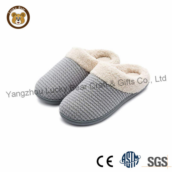 Wholesale Fashion Cashmere Lady and Men Indoor Shoes Flat Slippers