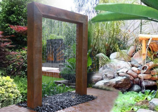 Fo Cw19 Corten Steel Rain Curtain Water Feature