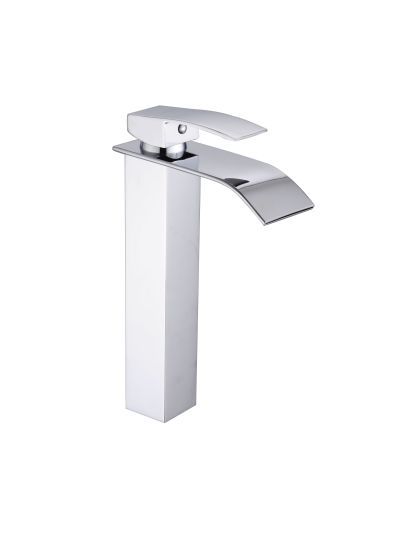 Single Handle Waterfall Bathroom Vanity Sink Faucet with Large Arc Water Spout, Chrome