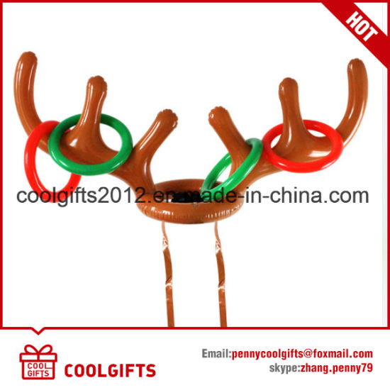 Holiday Party Toys Water Rubber Inflatable Reindeer Horn Hat Ring Toss Toy