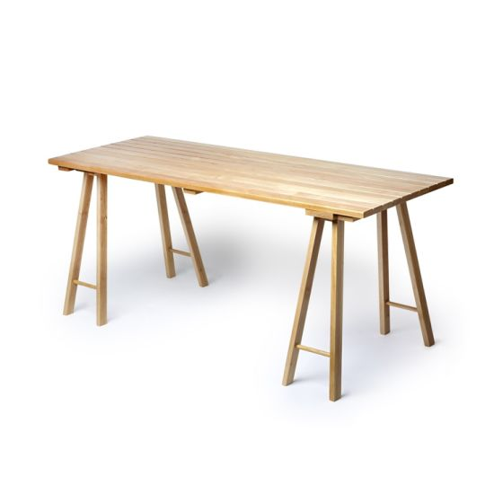 China Rustic Style Wooden Trestle Dining Table For Restaurant Use