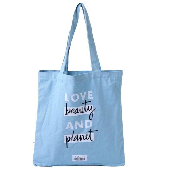Promotional Custom Logo Printed Organic Calico Cotton Shopping Bag Canvas Tote Bag