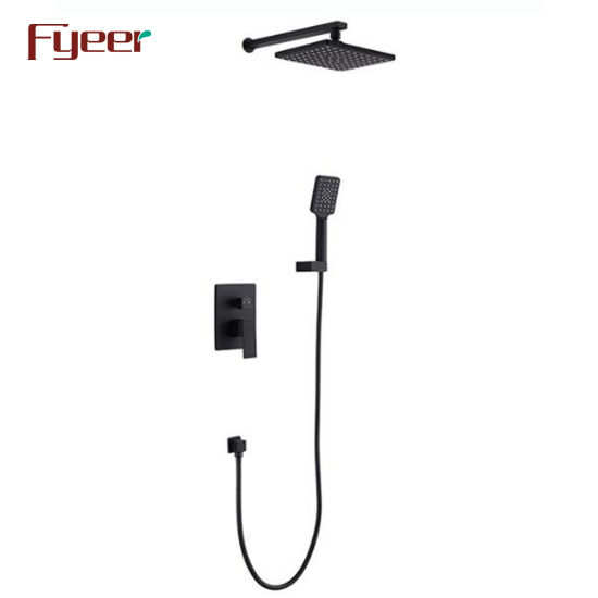 Fyeer Black Bathroom Conceal Shower Set with 8 Inch Shower Head