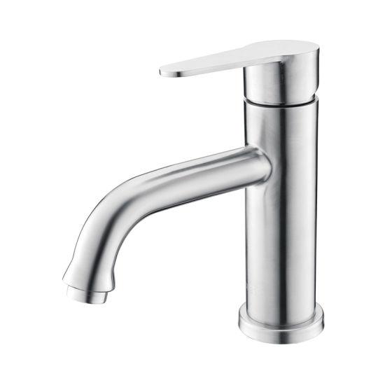 Luolin Bathroom Basin Faucet Stainless Steel 304 Vanity Mixer Sink Tap Lavatory Bidet Hand Wash Sink, Brushed 586-7