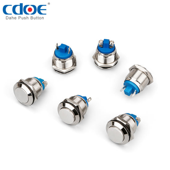 Off-On 16mm IP65 Nickel//Brass Anti-damage Switch Vandal Resistant SPST
