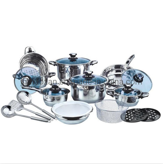 Ss Coowkare Wide Edge Cookware Set 26PCS with Blue Glass Lid