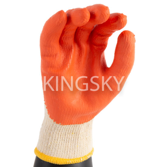 Latex Coated 10g Polyester Liner Rough Finish Industrial Safety Work Glove-5215