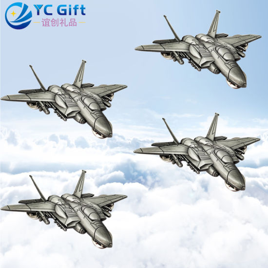 Customized Metal Art Crafts Airplane Model 3D Plating Lapel Pin Army Military Flight to Commemorate Emblem Award Police Badges Medals with Any Design Logo