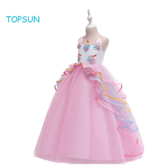 Girls Unicorn Costume Dress Kids Pageant Flower Princess Party Dresses