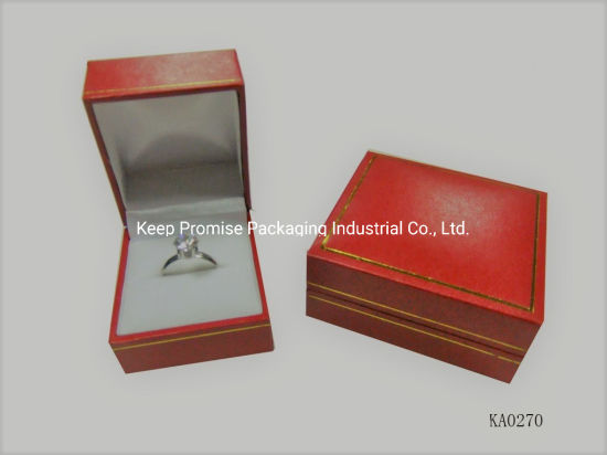 Luxury Red Plastic Mould Gift Leatherette Paper Ring Jewelry Box
