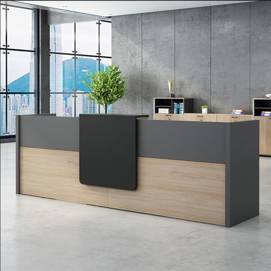 Factory Custom Fancy Style Curved Design Corian Office Reception Table