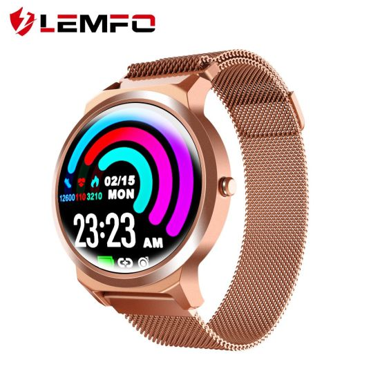 Lemfo New Elf1 Smart Bracelet 1.3 Inch Full Round Touch Screen Heart Rate Monitor IP67 Waterproof Luxury Smartwatch Mobile Phonereplaceable for Gift Steel Strap pictures & photos