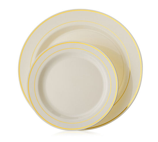 Gold Line Premium Heavyweight Plastic Wedding Plates \