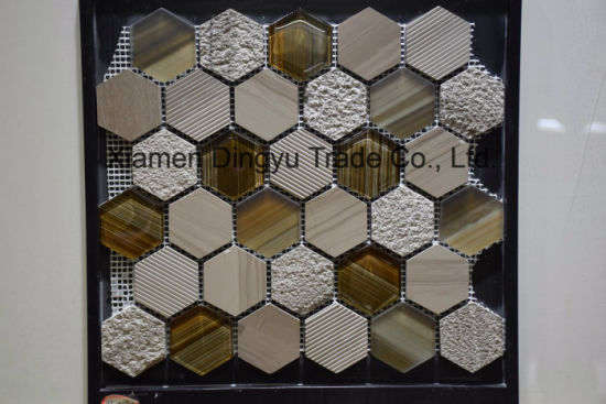 Building Material Hexagon Marble Mosaic Mix with Metal Floor Tile