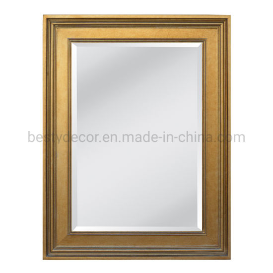 Vintage Champagne Hotel Decor Wooden Frame Mirror with Bevel Edge