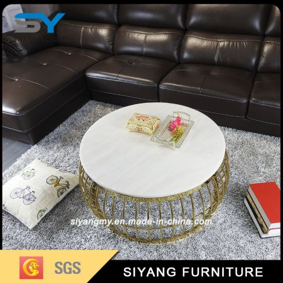 Foshan Manufacturer Stainless Steel Round Coffee Table