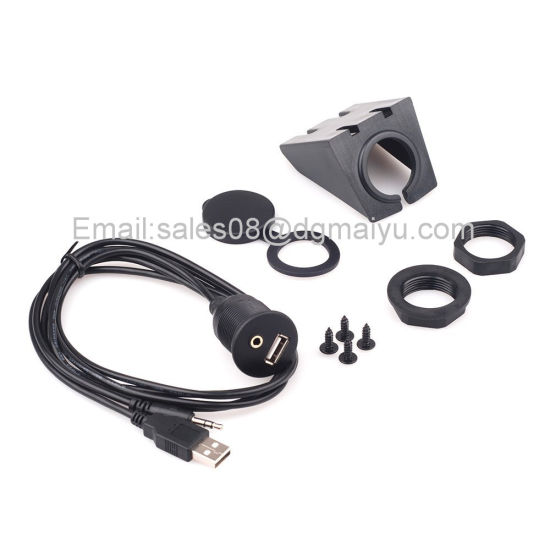 Car Dash Board Mount 3.5mm USB Aux in Input Socket Extension Lead Panel Cable 1m