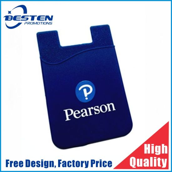 Custom Logo Printed 3m Adhesive Card Holder Silicone Cell Phone Wallet for Promotions