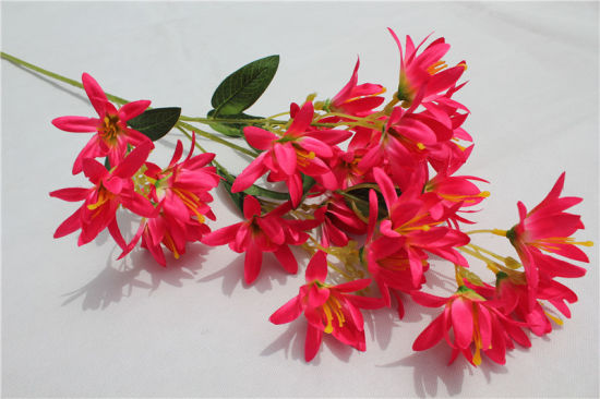 China Cheap Red Plastic Artificial Flowers For Wedding Decoration