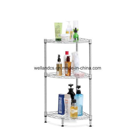 Bathroom Storage Organizer 3 Tier Chrome Steel Corner Mesh Wire Shelf Rack No Tools Embly