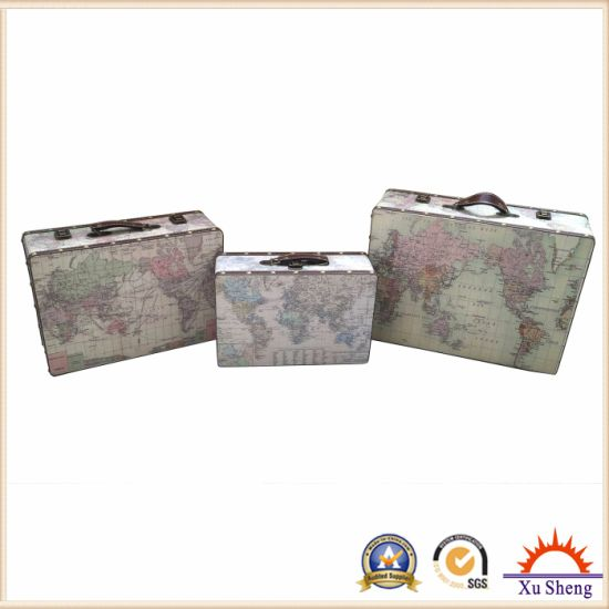 3-PC Vintage Beige World Map Print Suitcase Jewelry Box and Gift Box pictures & photos