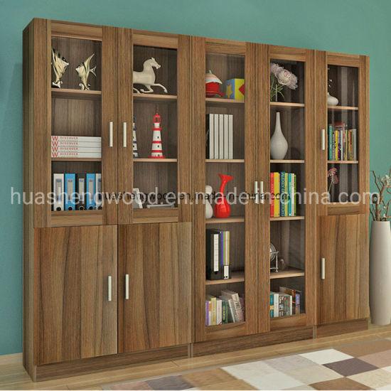 China Factory Wooden Filing Cabinet with Glass Doors
