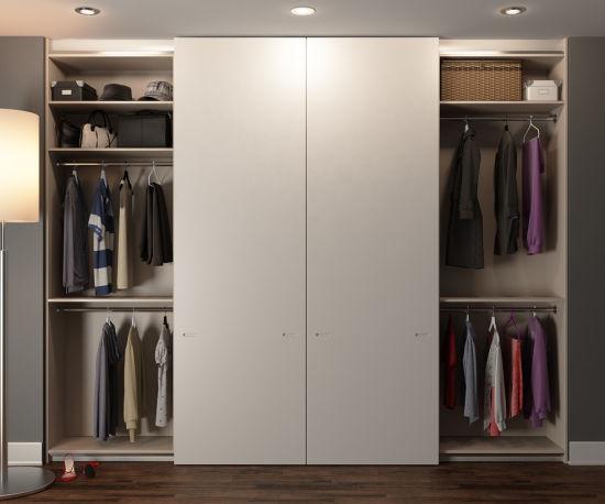 Modern Style Matt Color Finish Storage Solutions Handless Sliding Door Wardrobe