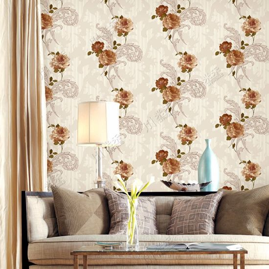 Interior Wall Decoration Wall Coating Bedroom PVC Flower Design Wallpaper