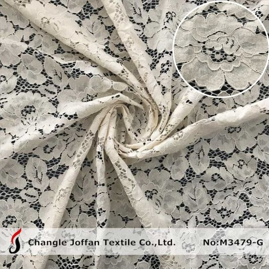 Jacquard Embroidery Fabric Lace Fashion Cotton Lace Wholesale (M3479-G)