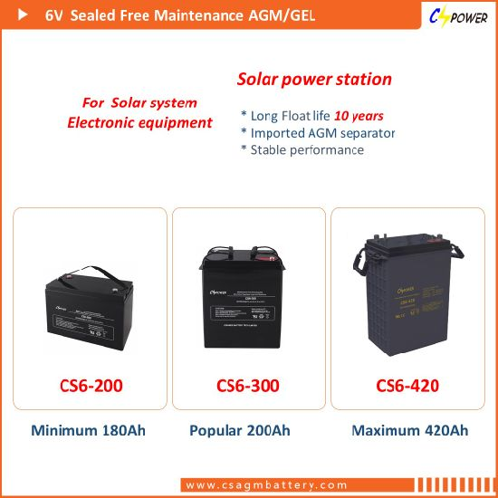 6V160ah AGM Deep Cycle Battery Electric Vehicles 6V 160ah CS6-160d pictures & photos