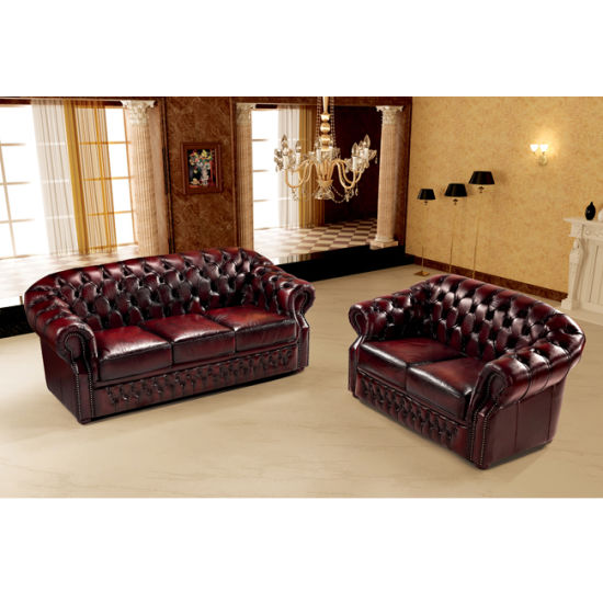 Luxury Italian Leather Chesterfield Sofa with Sofa Bed Function MS-30#