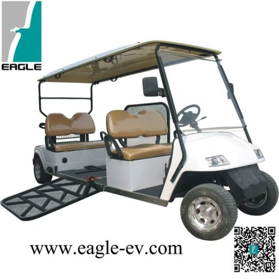 China Electric Handicapped Cart, with Hydraulic Ramp for Wheelchair on wheelchair stand up and play, courtesy cart, grocery cart,