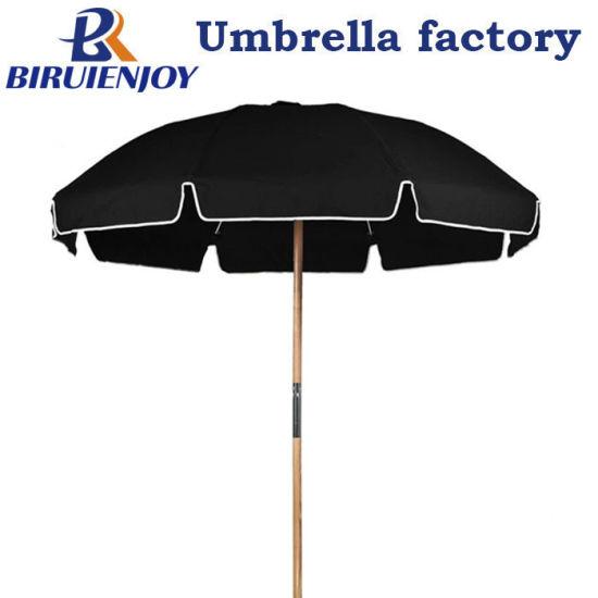 Outdoor Large Patio Wooden Pole Fiberglass Black Beach Umbrella with Flap 2meter