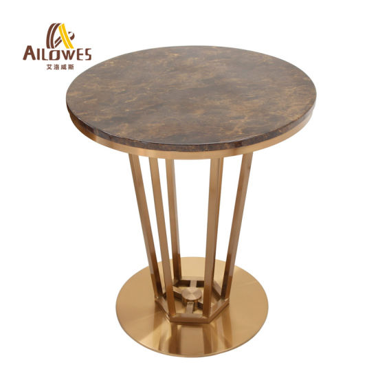 Simple Modern Golg Stainless Steel Bar, Marble Top Table Round