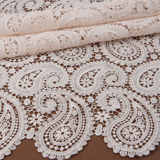 100% Cotton Paisley Embroidery Chemical Guipure Lace Fabric