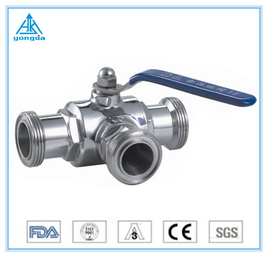 Stainless Steel Food Grade Sanitary 3ways Male Ball Valve