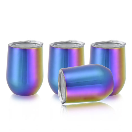12 Oz--Stainless Steel Wine Tumbler with Lid, PVD Coating, Colors Change Via Different Angles