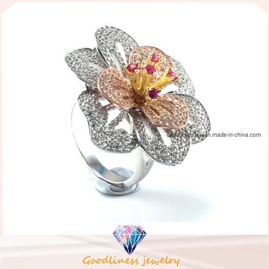 Flower Rings Sterling Silver Rhodium Plated Jewelry Gift Size Selectable