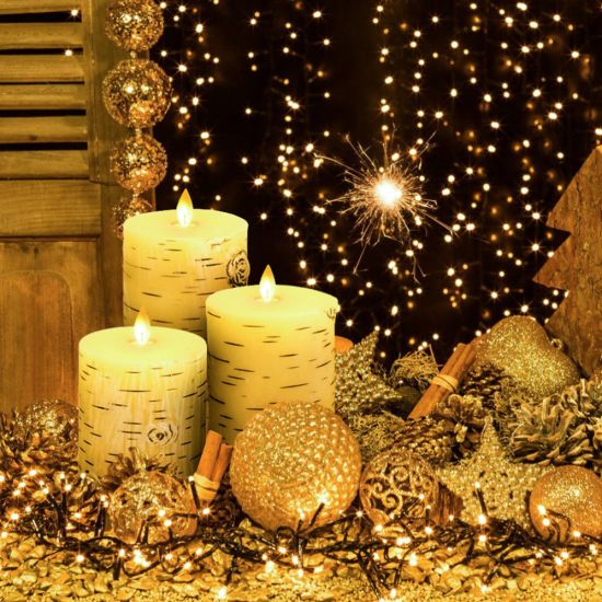 Gift Set Silver Birch LED Candle Light with Remote Controller 3 Pack Per Set