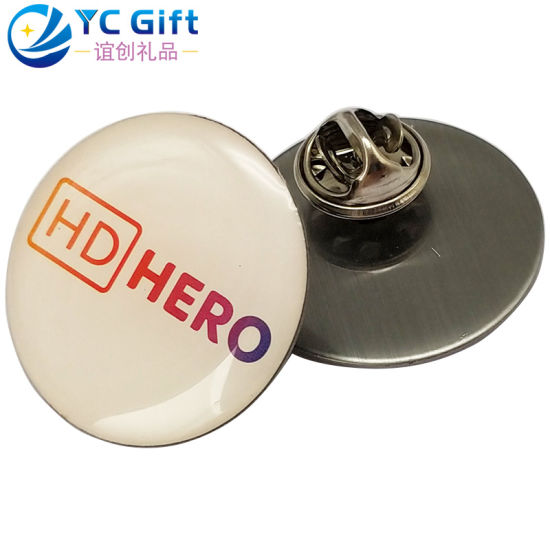 Factory Custom Cheap Price Metal Crafts Round Printing Text Logo Epoxy Lapel Pin Personalized Activity Promotion Souvenir Gift Button Badges with Any Design